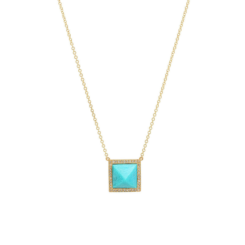 Custom Cut Turquoise Pyramid Necklace with Diamonds