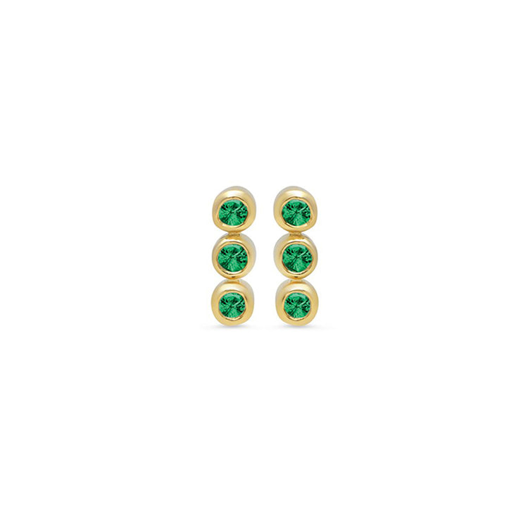 3 Emerald Mini Bezel Studs