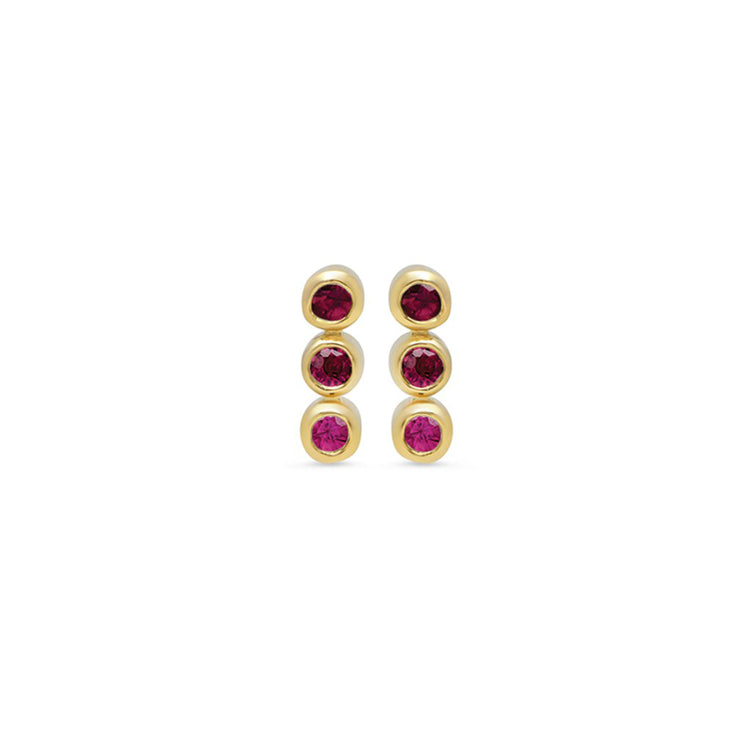 3 Ruby Mini Bezel Studs