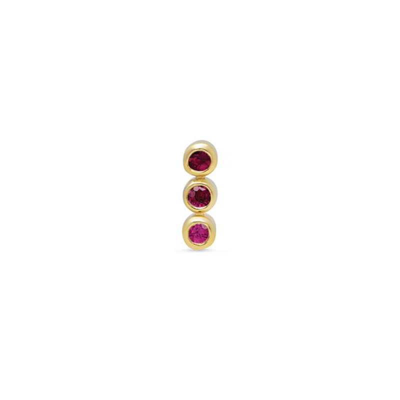 Half Pair 3 Ruby Mini Bezel Studs
