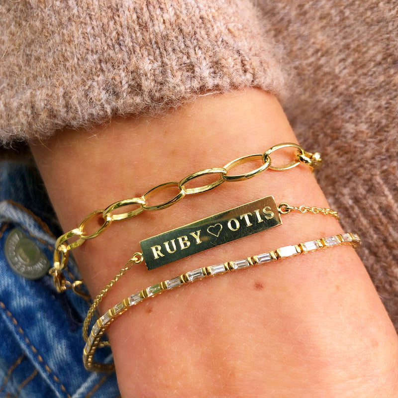 Custom Yellow Gold Nameplate Bracelet