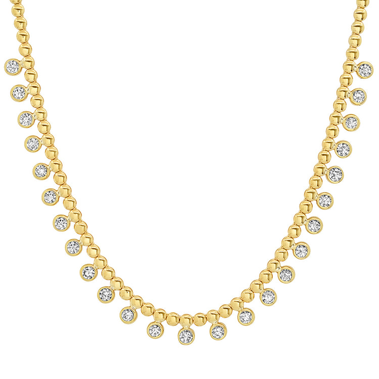 Mini Bezel Tennis Necklace with 1/3 Diamond Bezel Accents