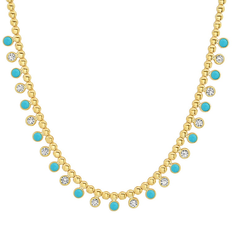 Mini Bezel Tennis Necklace with 1/3 Diamond & Turquoise Bezel Accents