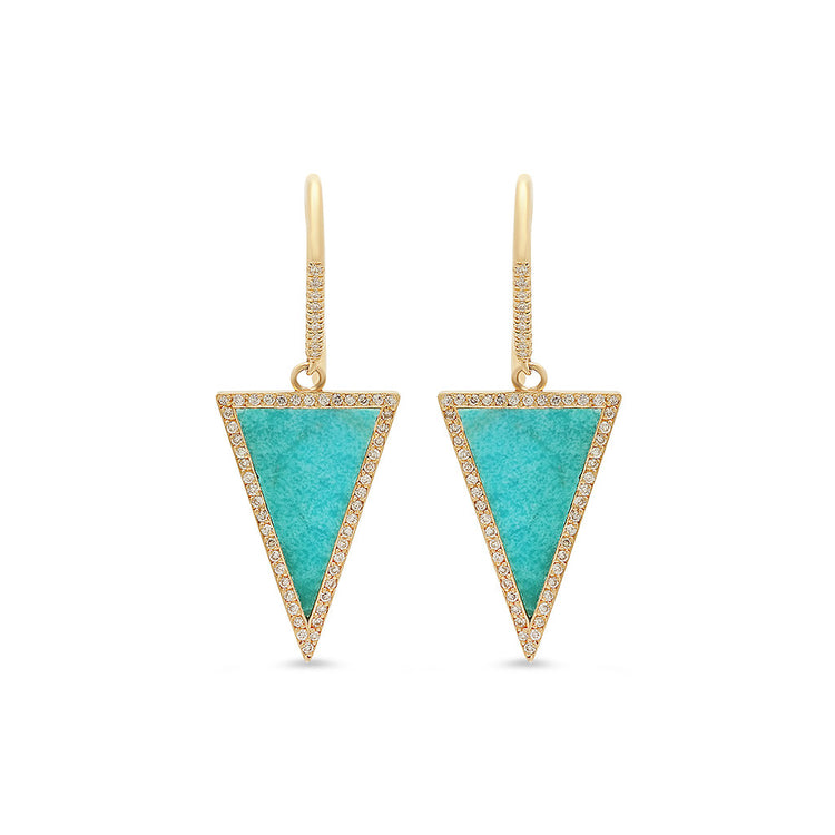 Turquoise Inlay Triangle Drop Earrings with Diamonds