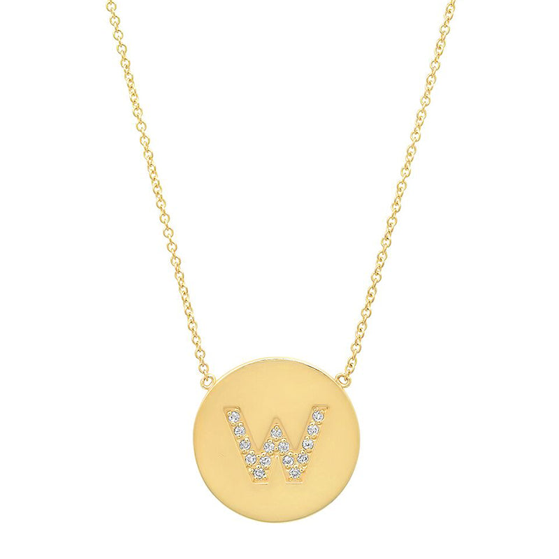 Diamond Letter Disc Necklace - W