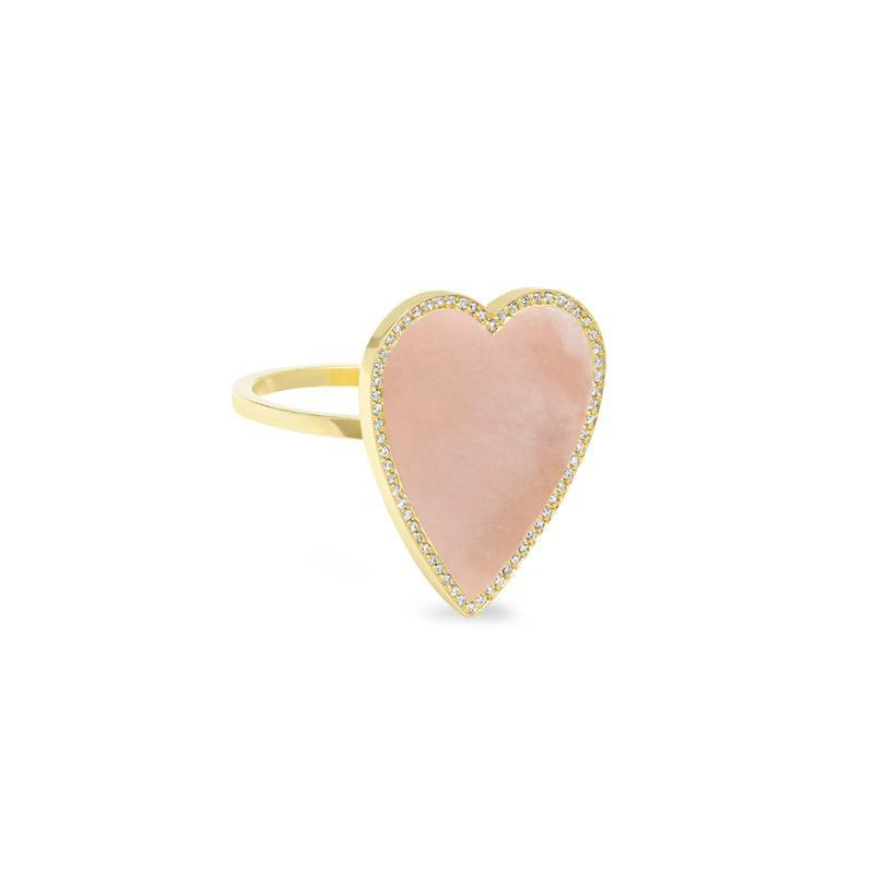 Pink Opal Inlay Heart Ring with Diamonds