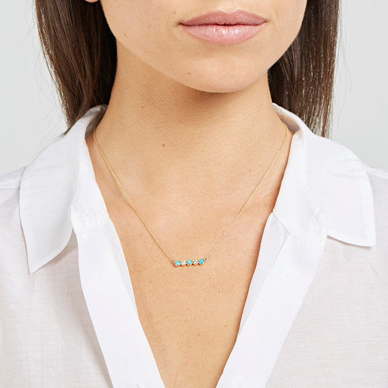 Turquoise & Diamond 5 Bezel Necklace