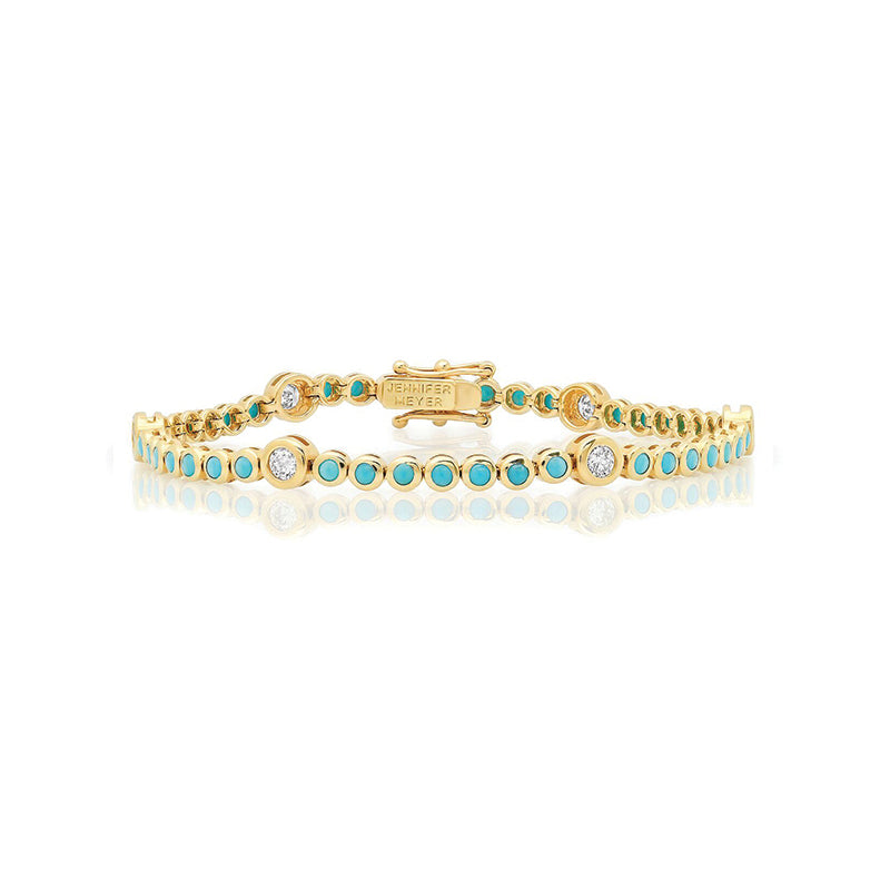 Turquoise Mini Bezel Tennis Bracelet with Diamond Accent