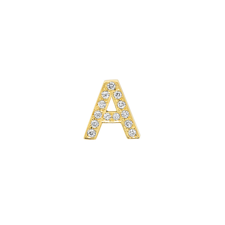 Diamond Mini Uppercase Letter Stud