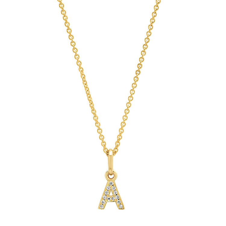 Diamond Mini Uppercase Letter Necklace