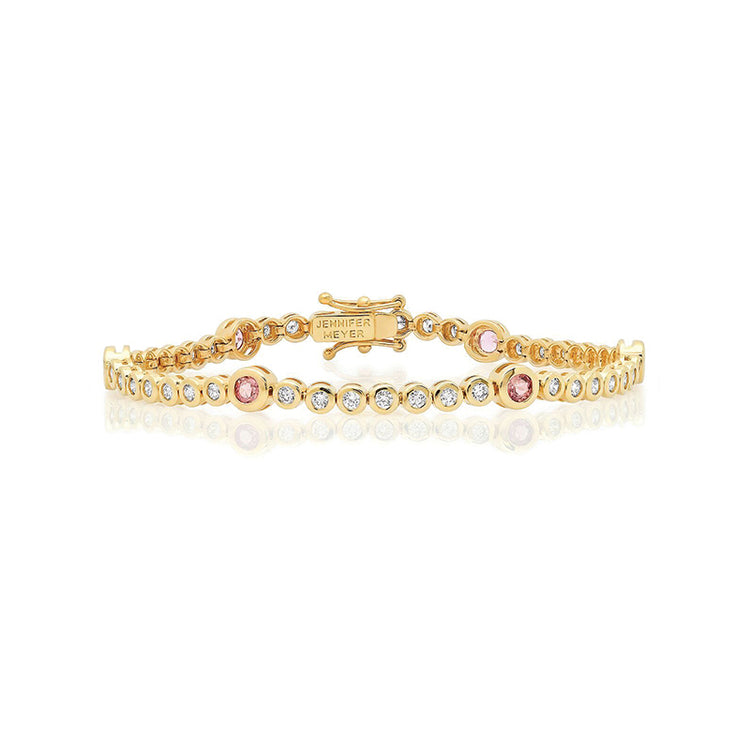 Diamond Mini Bezel Tennis Bracelet with Large Pink Sapphire Accent