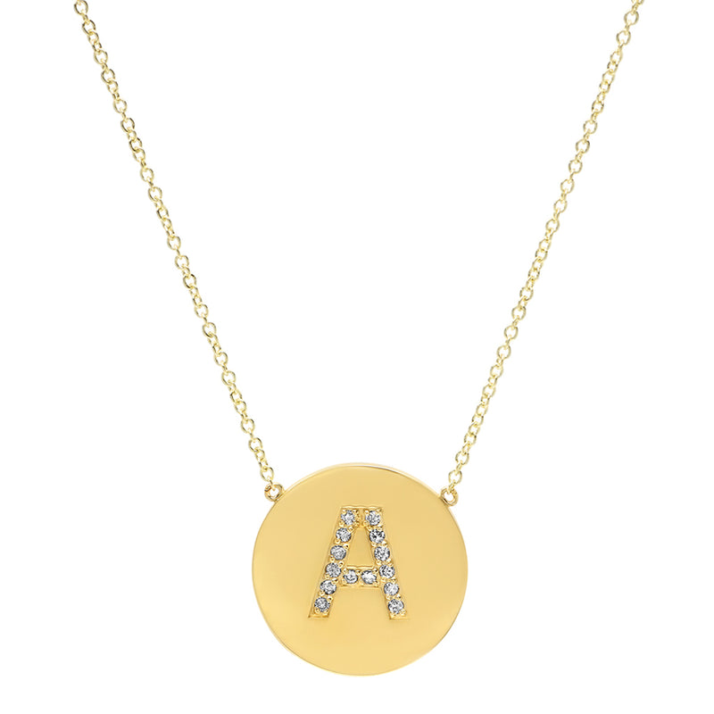 Diamond Letter Disc Necklace