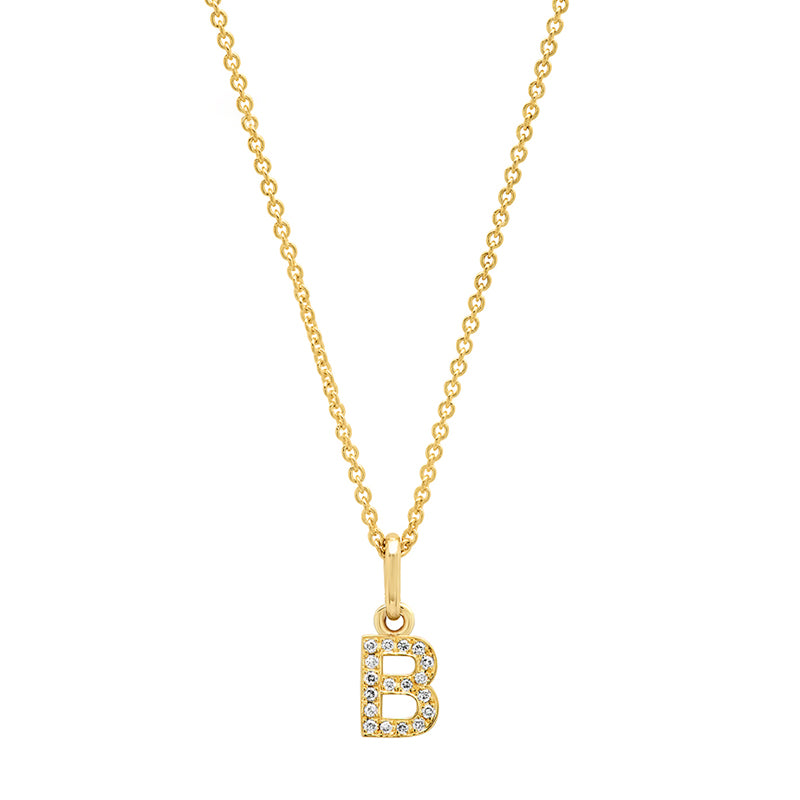 Diamond Mini Uppercase Letter Necklace - B
