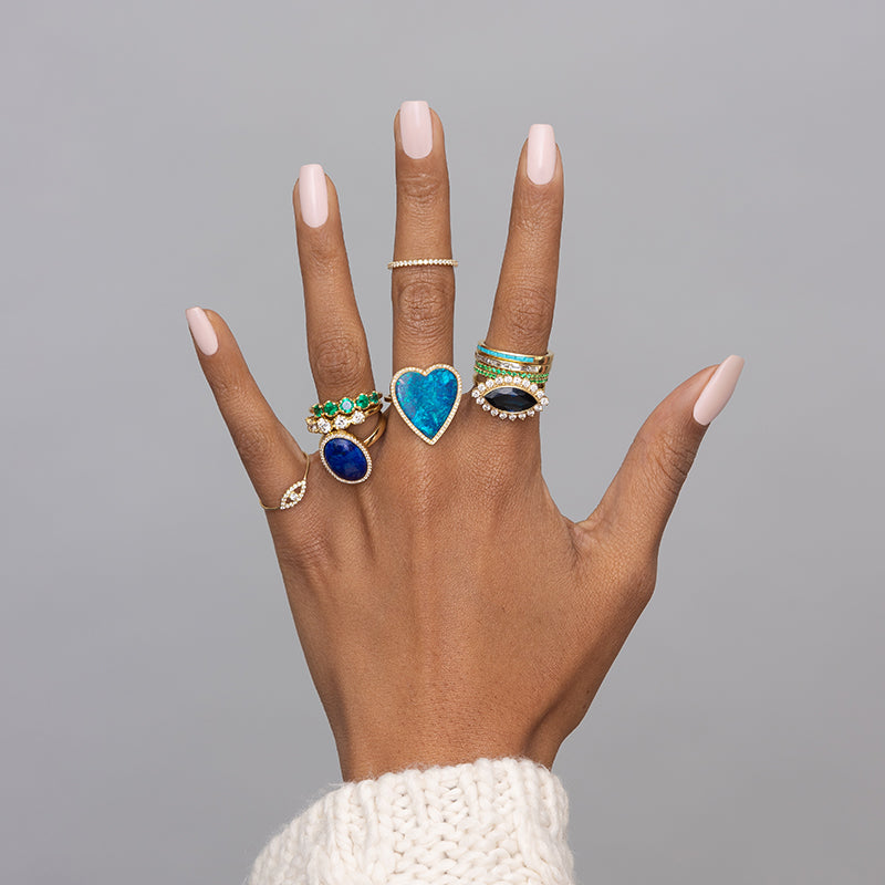 Blue Boulder Opal Inlay Heart Ring with Diamonds