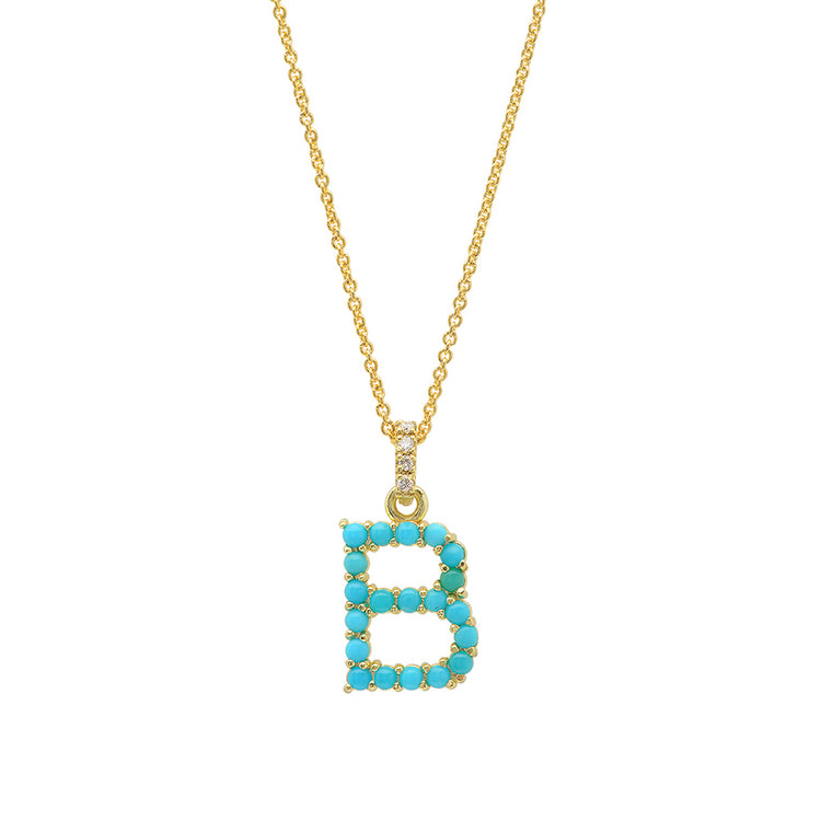 Turquoise Letter Necklace - B