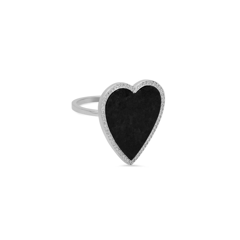 White Gold Onyx Inlay Heart Ring