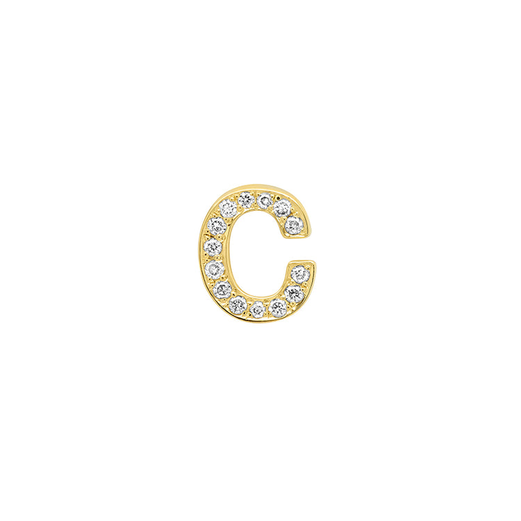 Diamond Mini Uppercase Letter Stud - C