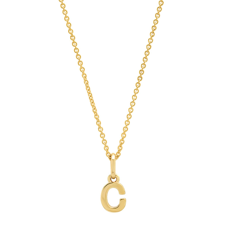 Mini Uppercase Letter Necklace - C