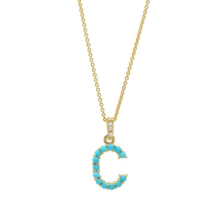 Turquoise Letter Necklace - C