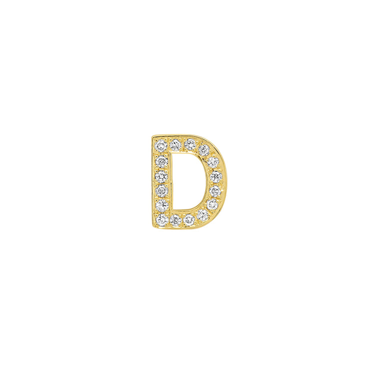 Diamond Mini Uppercase Letter Stud - D