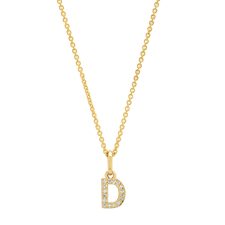 Diamond Mini Uppercase Letter Necklace - D