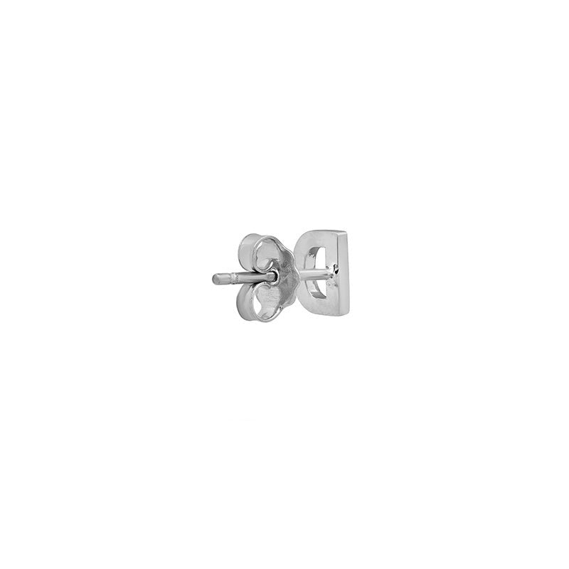 White Gold Mini Uppercase Letter Stud - D