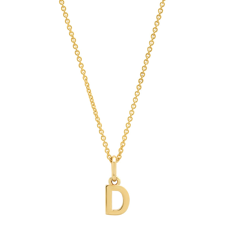 Mini Uppercase Letter Necklace - D