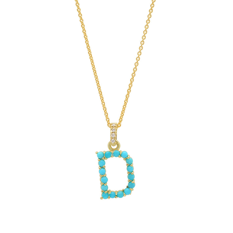 Turquoise Letter Necklace - D