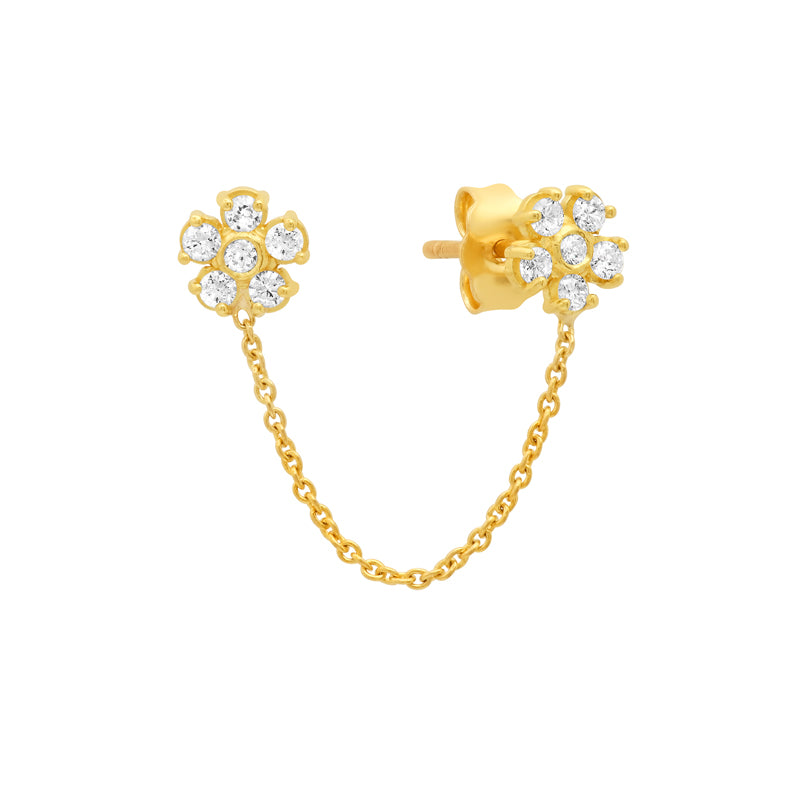 Diamond Double Flower Stud