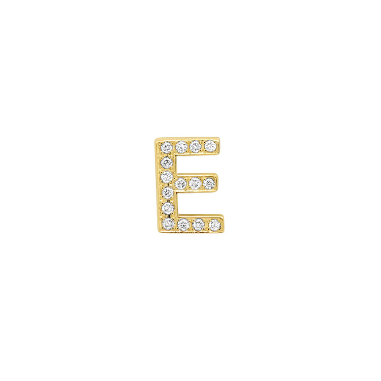 Diamond Mini Uppercase Letter Stud - E