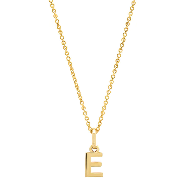 Mini Uppercase Letter Necklace - E