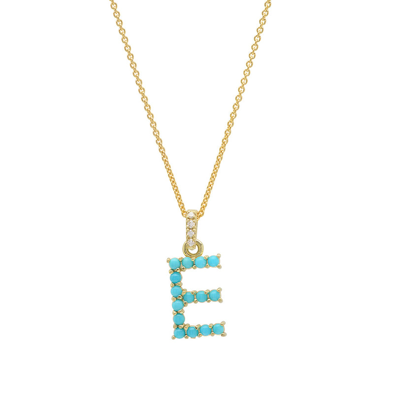 Turquoise Letter Necklace - E