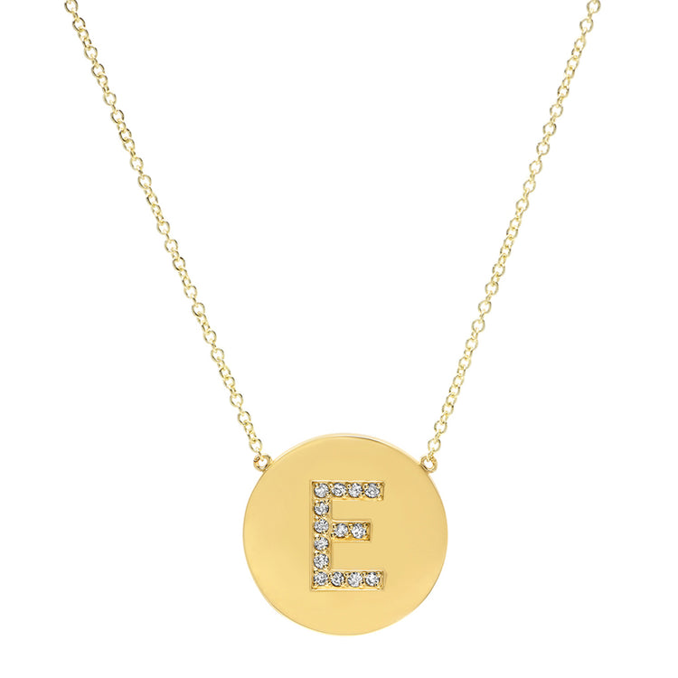 Diamond Letter Disc Necklace - E