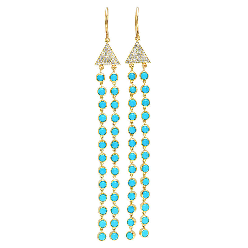Diamond Triangle with Turquoise Bezel Fringe Earrings