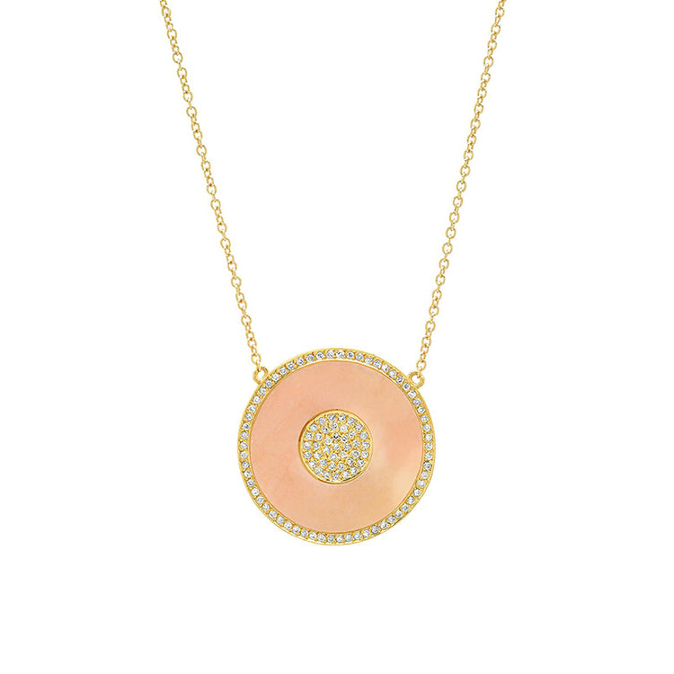 Pink Opal and Diamond Inlay Evil Eye Necklace