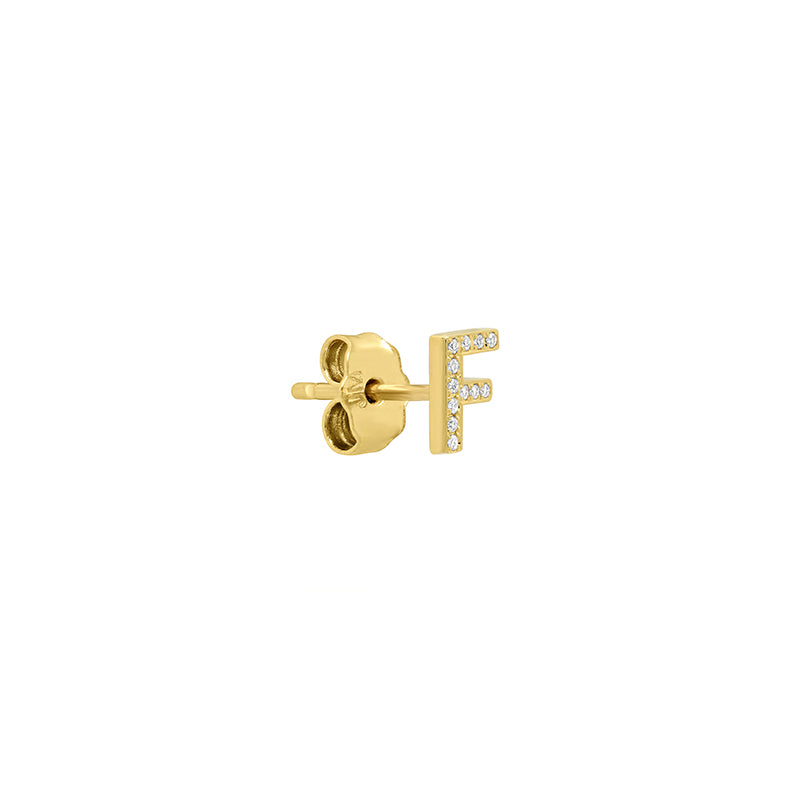 Diamond Mini Uppercase Letter Stud - F