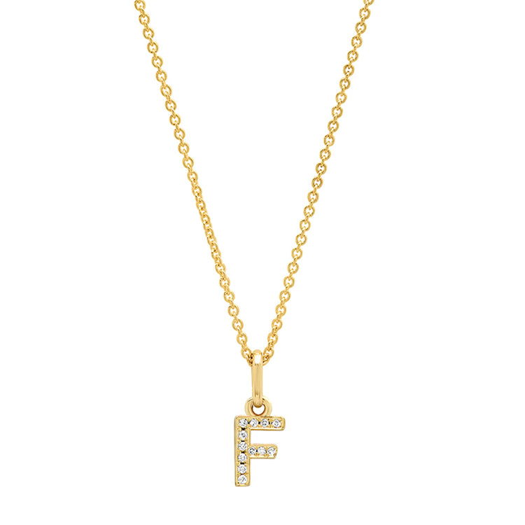 Diamond Mini Uppercase Letter Necklace - F