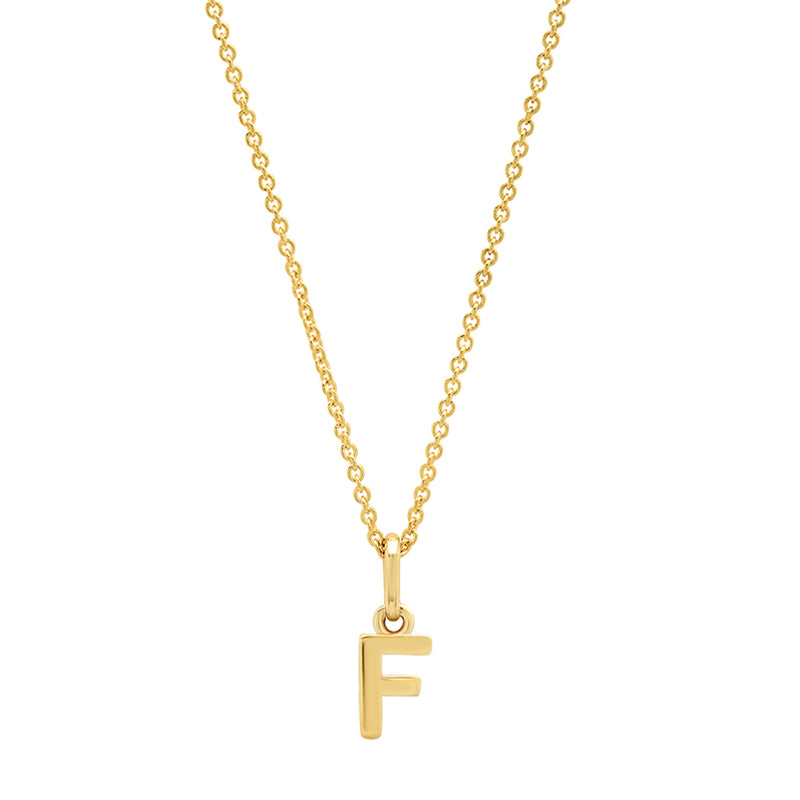 Mini Uppercase Letter Necklace - F
