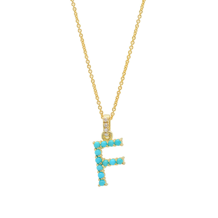 Turquoise Letter Necklace - F
