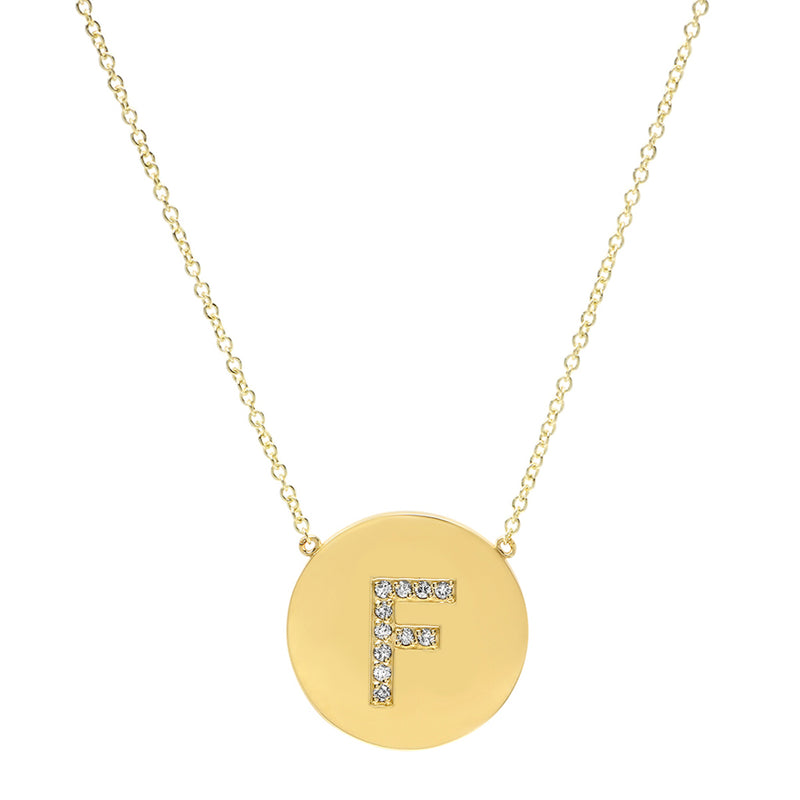 Diamond Letter Disc Necklace - F