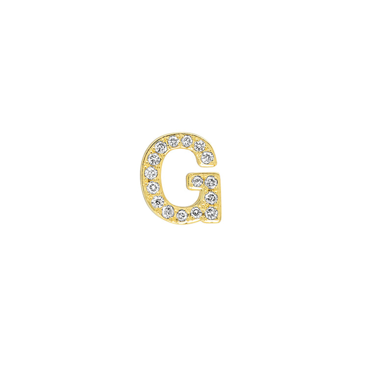 Diamond Mini Uppercase Letter Stud - G