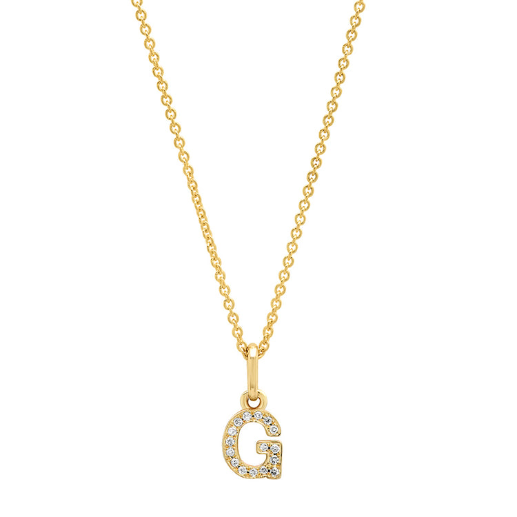 Diamond Mini Uppercase Letter Necklace - G