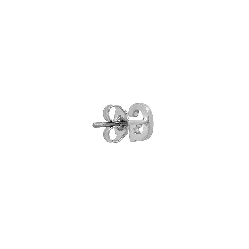 White Gold Mini Uppercase Letter Stud - G