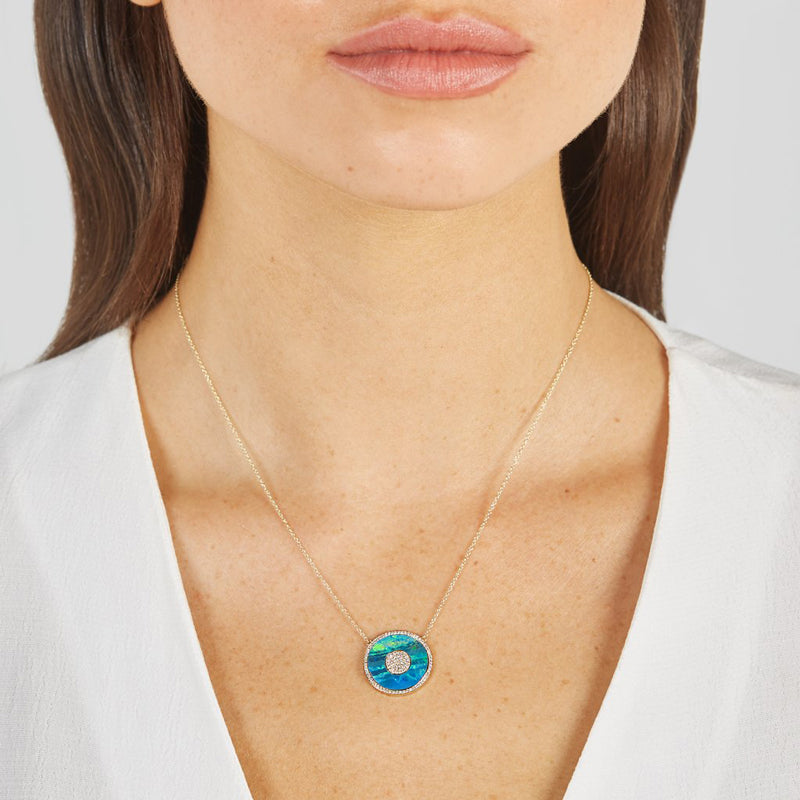 Blue Boulder Opal and Diamond Inlay Evil Eye Necklace