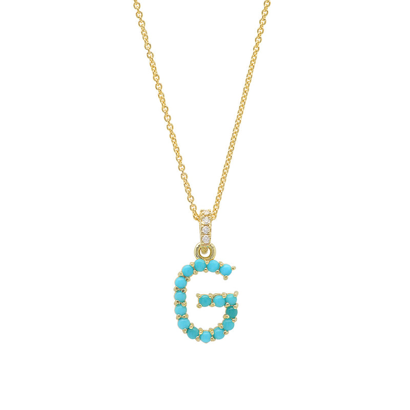 Turquoise Letter Necklace - G