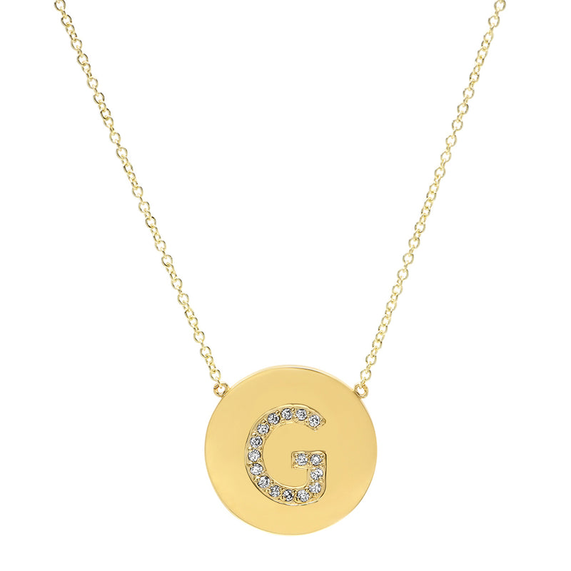 Diamond Letter Disc Necklace - G