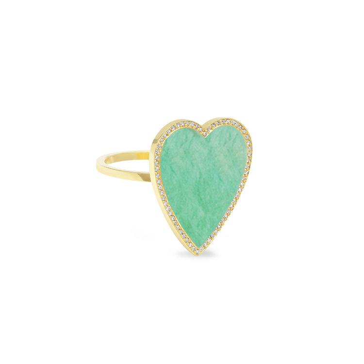 Green Turquoise Inlay Heart Ring with Diamonds