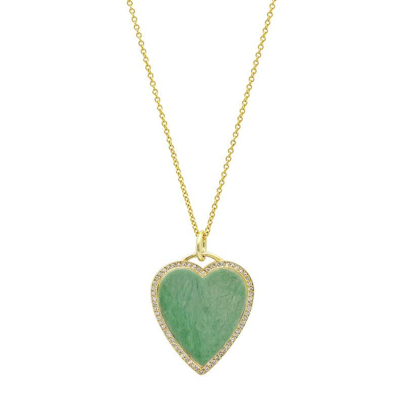 Green Turquoise Inlay Heart Necklace with Diamonds