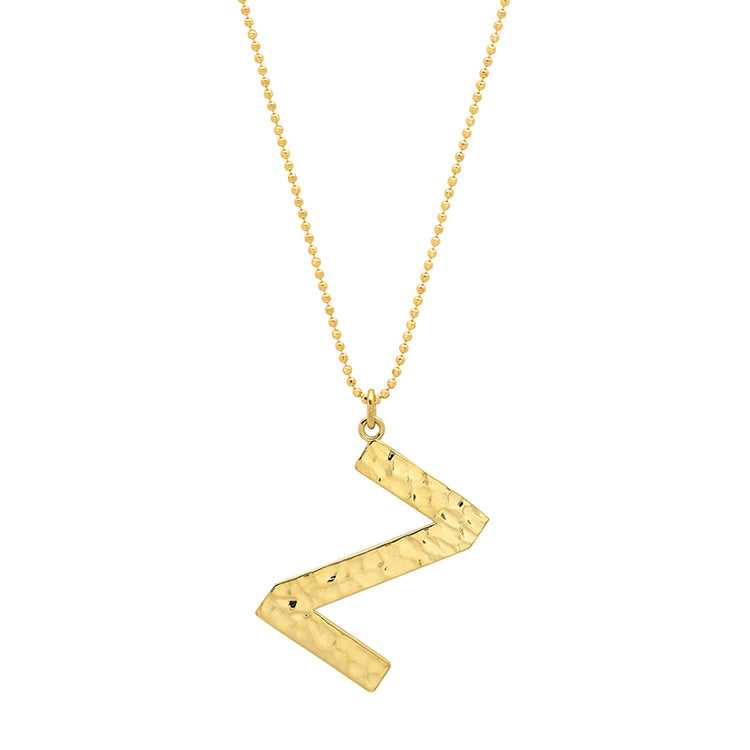 Hammered Letter Necklace - Z