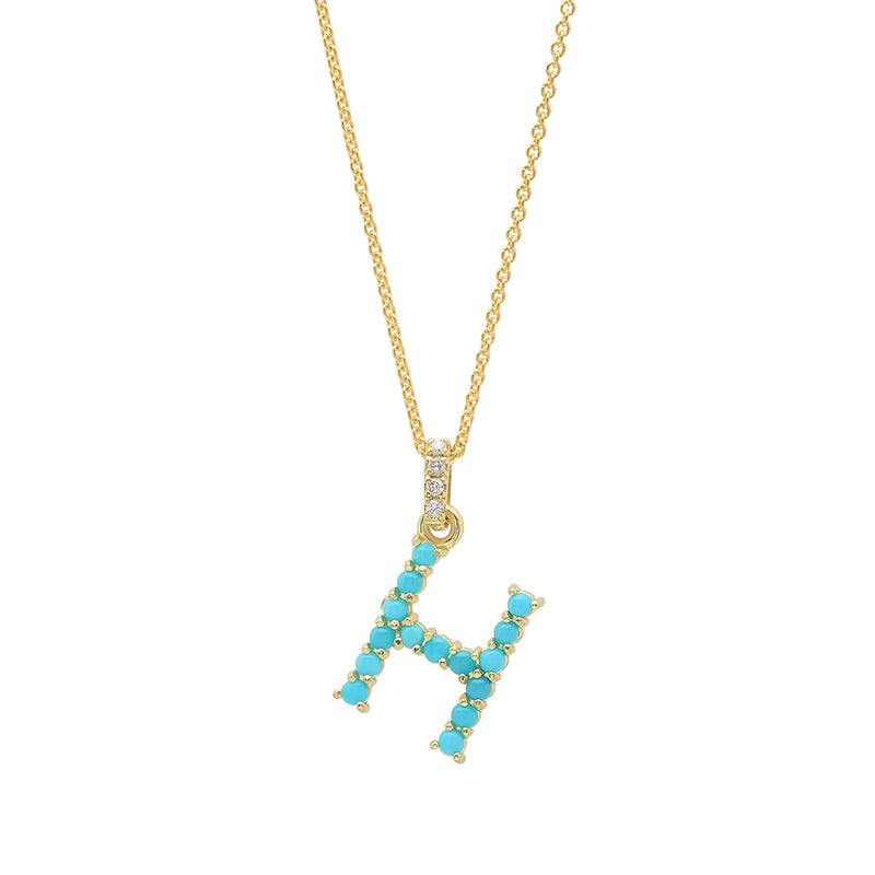 Turquoise Letter Necklace - H
